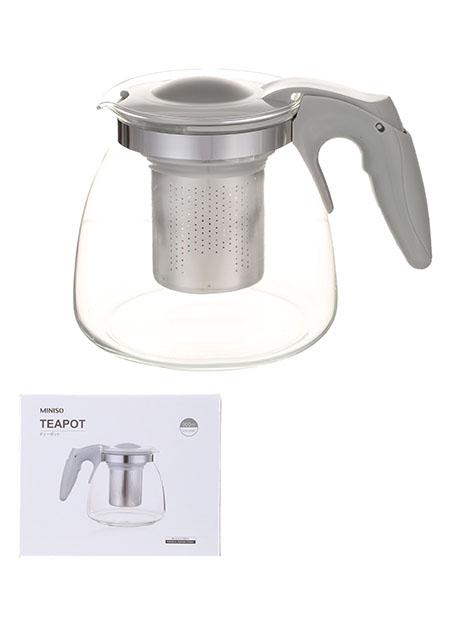 """קנקן מעוצב לתה בשילוב נרוסטה וזכוכית 900 מ""""ל"""