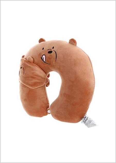 כרית לצוואר + כיסוי עיניים- דב גריזלי מסדרת We Bare Bears