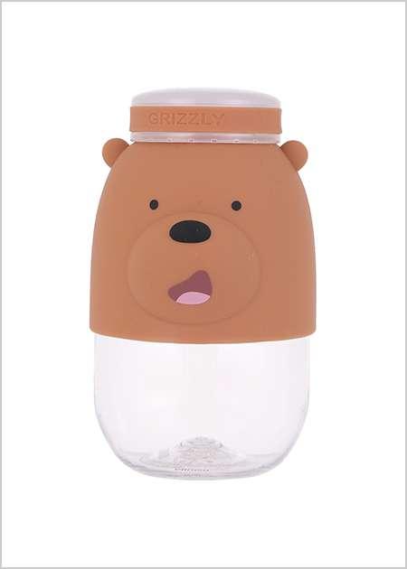 """בקבוק זכוכית 380 מ""""ל דב גריזלי מסדרת We Bare Bears"""