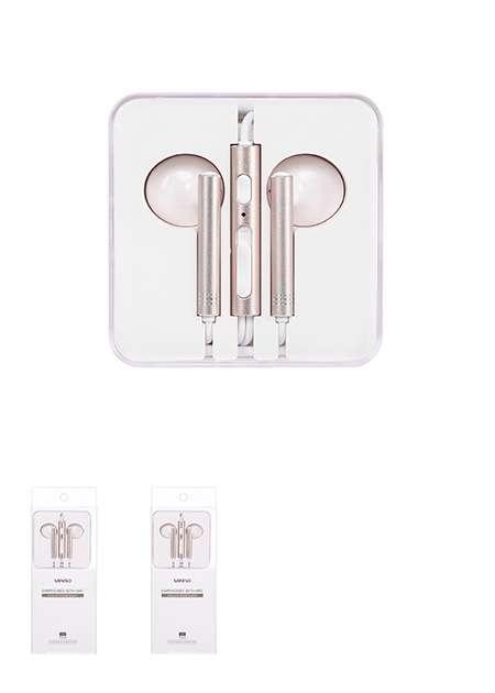 אוזניות לנייד מעוצבות  מקרופון מובנה בצבע זהב